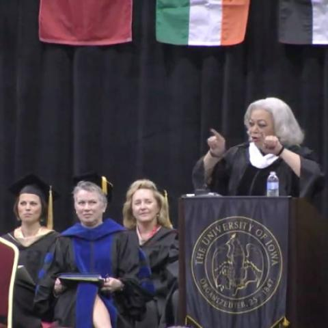Dianne Dillon-Ridgely gives the commencement address at Tippie College of Business, University of Iowa